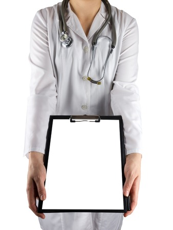 taking inventory: Female doctors hand holding stethoscope and clipboard isolated on white background. Concept of Healthcare And Medicine. Copy space. Stock Photo