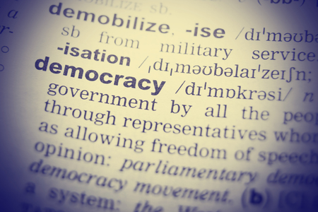 English dictionary: Democracy Word Definition In English Dictionary. Close-up shot