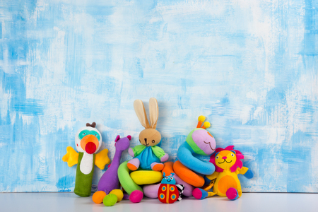 Set of colorful Kids toys frame. Copy space for text Stock Photo - 90154413