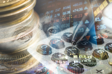 Finance, banking concept. Euro coins, us dollar banknote close-up. Abstract image of Financial system with selective focus, toned, double exposure Stock Photo