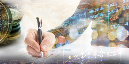 Finance, banking concept. businessman signs documents. Abstract image of Financial system with selective focus, toned, double exposure