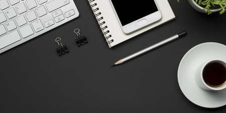 Office desk table with supplies. Flat lay Business workplace and objects. Top view. Copy space for text 写真素材