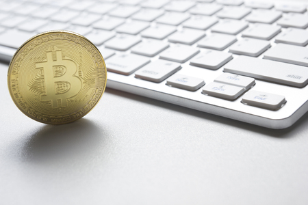 Bitcoin gold coin. Cryptocurrency concept. Virtual currency background. 写真素材 - 97962032