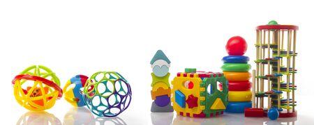 Set of kid toys isolated on white background.