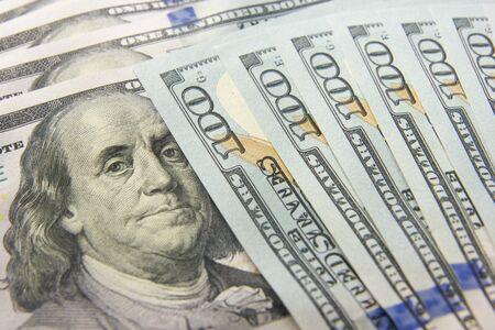money background. american hundred dollar bills. copy space