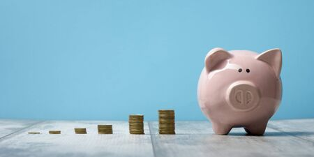 Piggy bank isolated on blue background. Savings concept