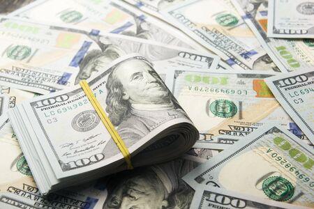 money background. american hundred dollar bills. copy space Stock Photo