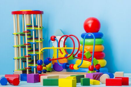 Kid toys background. Copy space for text. Stockfoto