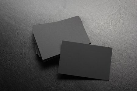 Business cards blank. Mockup on color background. Flat Lay. copy space for text.