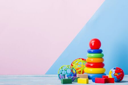 Kid toys background. Copy space for text. Stock Photo