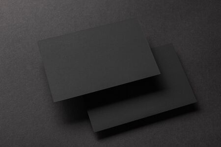 Business cards blank. Mockup on color background. Flat Lay. copy space for text Stok Fotoğraf