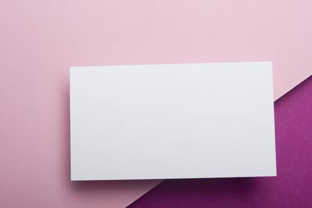 Business cards Mockup on color background. Flat Lay. copy space for text. Stok Fotoğraf