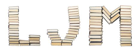 L J M from books. Alphabet isolated on white background. Font composed of spines of books.