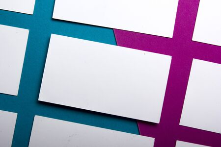 Business cards Mockup on color background. Flat Lay. copy space for text. Stockfoto