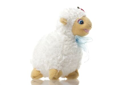 sheep toy isolated on a white background 스톡 콘텐츠