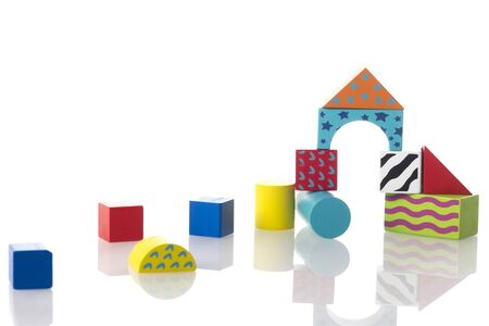 Set of kid toys isolated on white background