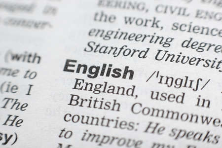 Dictionary definition of the word English. Close-up shot. Foto de archivo