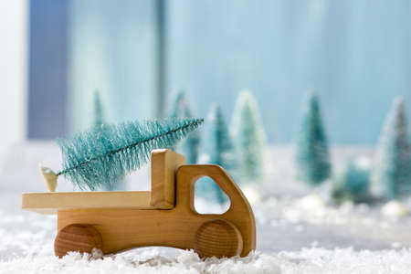 Christmas decoration background. Christmas tree and holidays ornament. Copy space Stock Photo