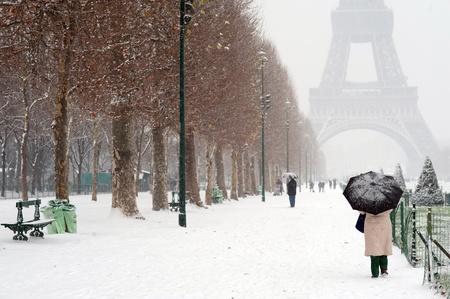 paris  france: Paris under snow