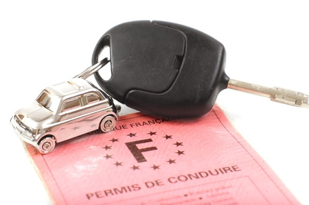 Key car with little key ring in cars shape
