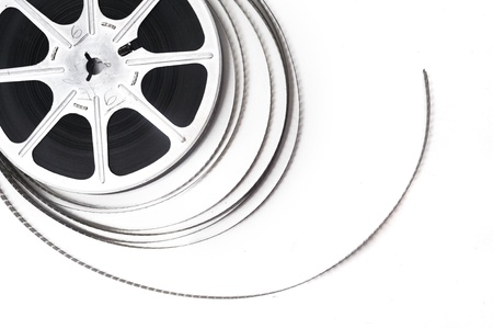 movie production: Old fashioned black and white video roll  Stock Photo