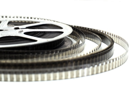 film production: Old fashioned black and white video roll  Stock Photo
