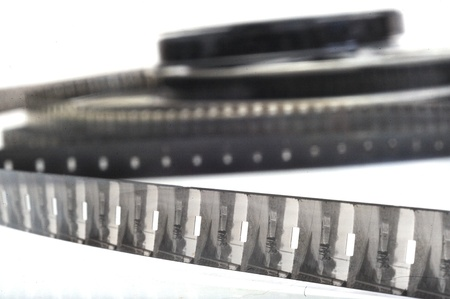 16mm: Old fashioned black and white video roll  Stock Photo
