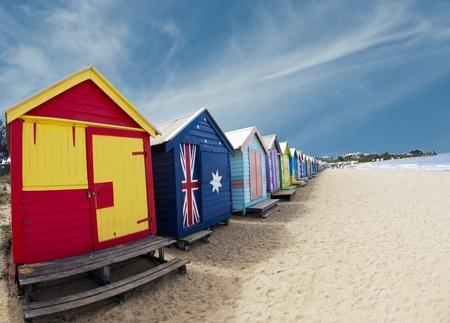 australia beach: Bathing boxes on Brighton beach - Melbourne - Australia