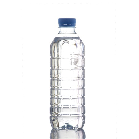 reflection  water: Bottle of water on a white background in high definition