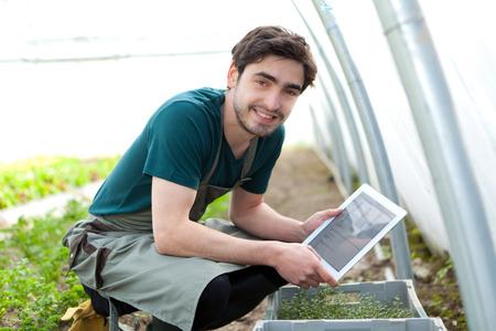 jardineros: Vista de un agricultor de negocios de jóvenes trabajando en su tablet Foto de archivo