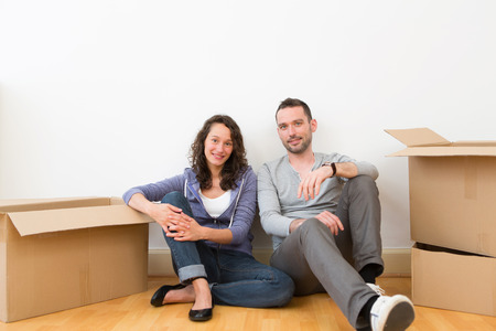 View of a Young couple in their brand new flat  Stock Photo