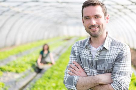 granjero: Vista de un agricultor atractiva en un invernadero Foto de archivo