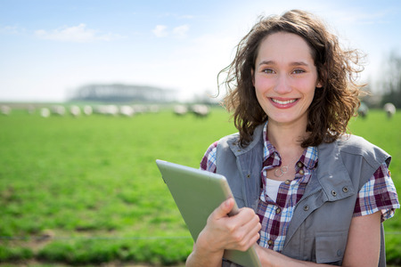 View of a Young attractive farmer in a field using tablet