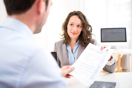 View of a Young attractive woman during job interview