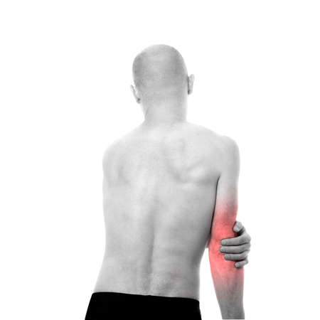 medecine: View of a Half-naked man feeling pain in the elbow