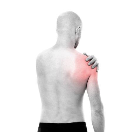 dolor: Vista del hombre sentir dolor semidesnuda en el hombro