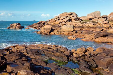 cote: View on the Cote de Granit Rose in Brittany, France