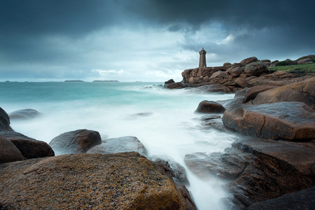 ruiz: View of the Lighthouse Men Ruiz in Ploumanach, Brittany, France