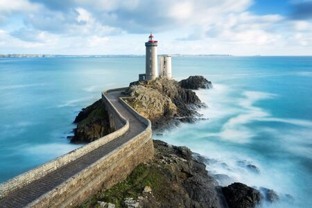 petit: View of the Phare du petit minou in Plouzane, Brittany, France