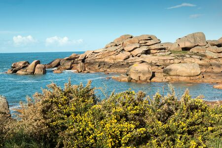 granit: View on the Cote de Granit Rose in Brittany, France