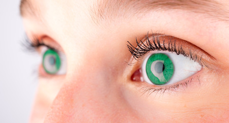 definition high: Detailed close up vieww of an green eye in high definition Stock Photo