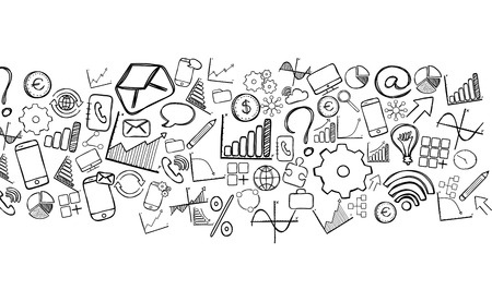 fresco: Fresco view of business hand drawn icons Stock Photo