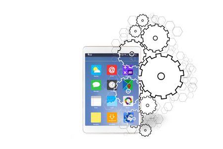 going out: View of Gear wheels icons going out a tablet Stock Photo