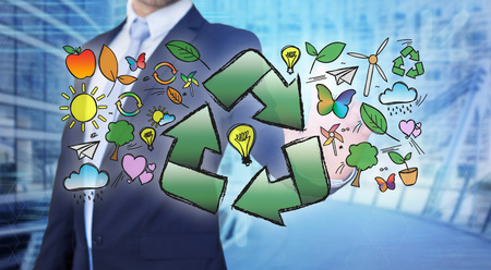 recycling logo: View of a Businessman touching ecology interface with arrow recycling logo Stock Photo