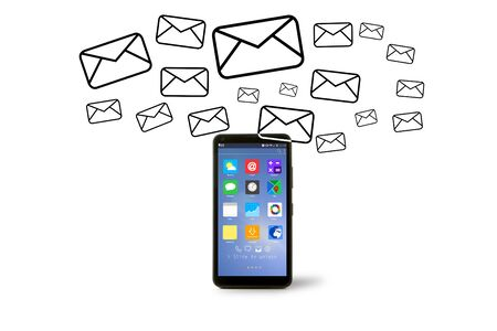 going out: VIew of Email icons going out a smartphone Stock Photo