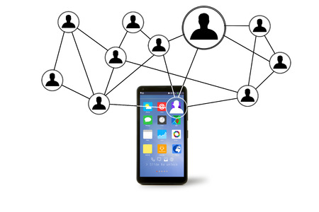 going out: View of Network contact icons going out a smartphone Stock Photo
