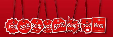 Concept view of percentage label for sales promotion