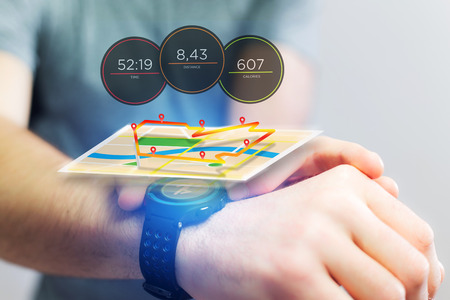 localization: View of a Running interface on a sport smartwatch with data informations