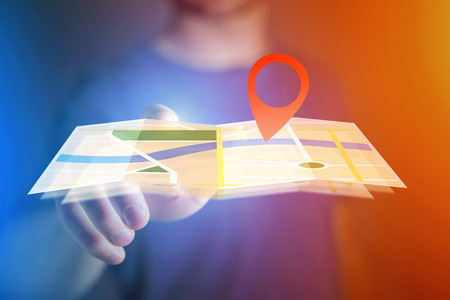 road position: Concept view of finding a place on an online map - Technology concept Stock Photo