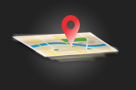 localization: View of an Interactive map isolated on a background - GPS localization concept Stock Photo